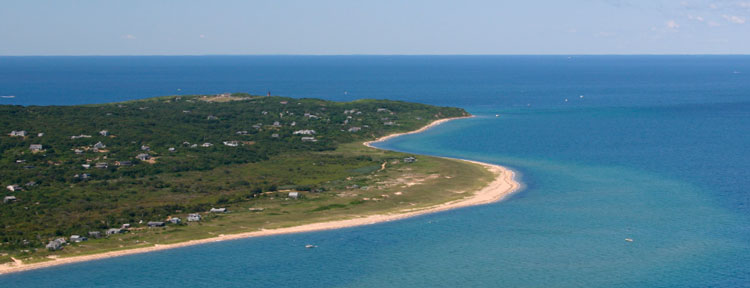 Off the north shore of Martha's Vineyard, you can fish the waters of the infamous Dogfish Bar. (Aerial photos by  James Fraser/fishinglogcalendars.com)